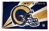 4 of 3' x 5' St. Louis Rams NFL licensed flag, Helmet design, AMERICAN MADE FLAG with grommets.