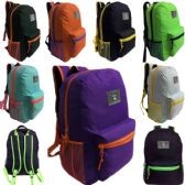 24 of 17 Inch Two Tone Unisex Back to School Backpack in 8 Assorted Colors
