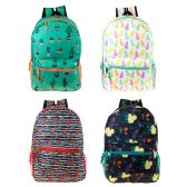 "24 of 17"" Wholesale Backpack in 4 Assorted Prints"
