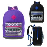 "24 of 17"" Kids Backpacks in Purple and Black Colors"
