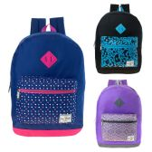 "24 of 17"" Girls Backpacks In 3 Assorted Colors"