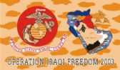 "96 of 3' x 5' polyester ""Iraqi Freedom"" Marines flag, with grommets."