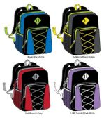 """24 of 17"""" Bungee Backpacks with Side Mesh Pocket - Assorted Colors"""