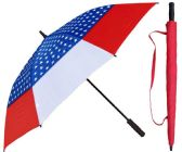 "3 of 60"" USA American Flag Print Wind Buster Golf Umbrellas with/ Foam Handle"