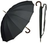 "6 of 46"" Auto-Open Black 16-Panel Umbrellas with/ Wood Hook Handle"