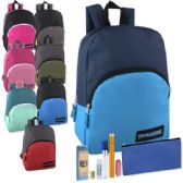 24 of Preassembled 15 Inch Backpack & 7 Piece School Supply Kit - 8 Colors