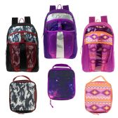 "24 of 17"" Wholesale Premium Backpacks with Lunch Box in 3 Assorted Prints"