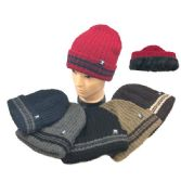 36 of Plush-Lined Knit Toboggan Wide-Striped Fold