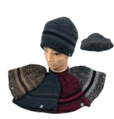 36 of Plush-Lined Knit Beanie Variegated Solid Stripes