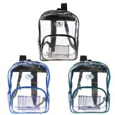 "36 of 16"" Wholesale Clear Backpack in 3 Assorted Trim Colors"