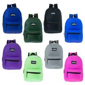 "24 of 17"" Kids Classic Backpack in 8 Assorted Solid Colors"
