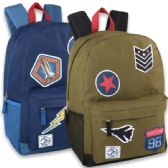 24 of 18 Inch Patches Backpack With Side Pockets - Boy Colors