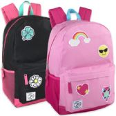 24 of 18 Inch Patches Backpack With Side Pockets - Girl Colors