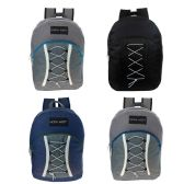 24 of Bungee Cord Lace Up Backpack in 5 Assorted Colors