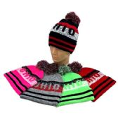 24 of Pom Pom Knit Hat OHIO Pixelated