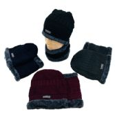 24 of Plush Lined Beanie/Neck Warmer Combo MultiStitch