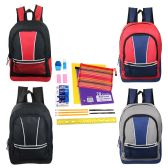 "24 of 17"" Wholesale Kids Sport Backpacks in 4 Assorted Colors with School Supply Kit"