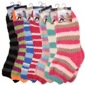 144 of Fuzzy Socks Stripes Assorted Colors