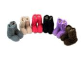 60 of Ladies Colorful Fuzzy Slipper Boot With Rubber Grip