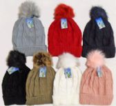 36 of Ski Hat With. Fur Pom Pom And Lining