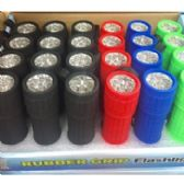 72 of 9 LED Flashlight with Rubber Grip Assorted Colors