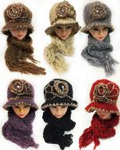 24 of Winter Knitted Lady Hat And Scarf Set Assorted Colors