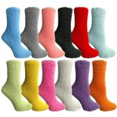 12 of Yacht & Smith Women's Solid Colored Fuzzy Socks Assorted Colors, Size 9-11