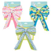 48 of Easter Basket Bow Fabric W/3ast Print Ribbon 7x10 Easter Tcd Yellow/blue/pink