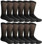 12 of Yacht & Smith Men's King Size Loose Fit Non-Binding Cotton Diabetic Crew Socks Black Size 13-16