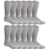 6 of Yacht & Smith Men's King Size Loose Fit Non-Binding Cotton Diabetic Crew Socks Gray Size 13-16