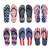 96 of Women's USA Patriotic Blue White Red Theme Flip Flop