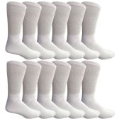 12 of Yacht & Smith Men's King Size Loose Fit Non-Binding Cotton Diabetic Crew Socks White Size 13-16