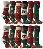 12 of Christmas Printed Socks, Fun Colorful Festive, Crew, Sock Size 9-11