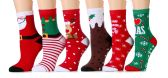 6 of Women Christmas Fun Colorful Printed Holiday Socks (Assorted 6 Pack Non Skid/Gripper Bottom