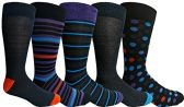 Yacht&Smith 5 Pairs of Mens Dress Socks, Colorful Fun Pattern Design, Casual (Assorted E)