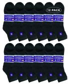 6 of Yacht & Smith Men's King Size Loose Fit Non-Binding Cotton Diabetic Ankle Socks Black Size 13-16