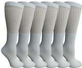6 of Womens Anti-Microbial Crew Socks, Comfort Knit Ringspun Cotton, Terry Lined, Premium Soft (6 Pack White)