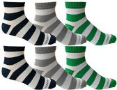 6 of 6 Pairs of Mens Short Crew Socks, Lightweight Striped Sports Sock (Wide Stripes)
