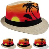 24 of Adult Printed Tropical Sunrise Fedora Hat