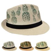 24 of Adult Printed Pineapple Fedora Hat