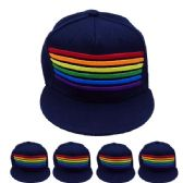24 of Adult Rainbow Snapback Cap In Navy