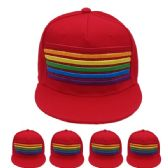 24 of Adult Rainbow Snapback Cap In Red