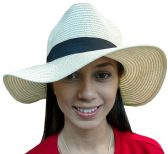 20 of 20 Pieces of Yacht & Smith Floppy Stylish Sun Hats Bow and Leather Design, Style B - White