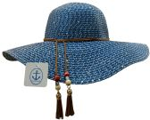 20 of 20 Pieces of Yacht & Smith Floppy Stylish Sun Hats Bow and Leather Design, Style A - Navy