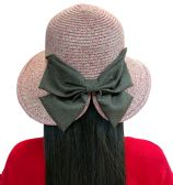 20 of 20 Pieces of Yacht & Smith Floppy Stylish Sun Hats Bow and Leather Design, Style D - Rose