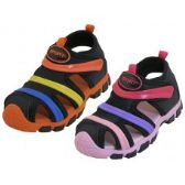 24 of Children's Rainbow Stripe Upper Velcro Sandals