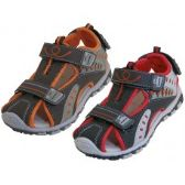 24 of Boy's Pu. Leather Upper Multi Color Velcro Sandals