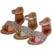 24 of Girl's Rhinestone Upper With Ankle Strip Sandals