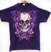 12 of Purple T Shirt Large Print Sugar Skull Assorted Sizes
