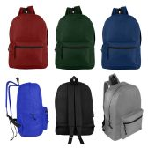 "24 of 17"" Wholesale Kids Basic Backpack in 6 Assorted Colors"